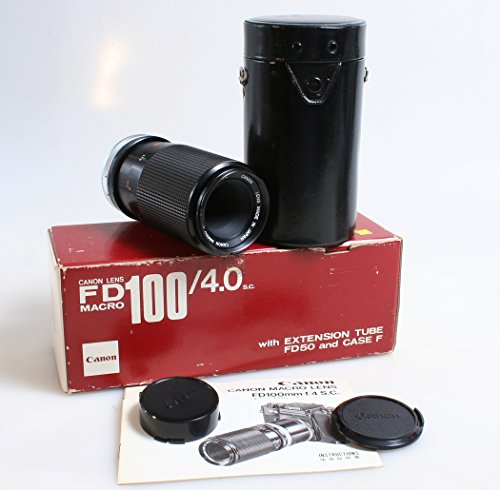 Canon FD 100MM Macro Lens F 4.0 with CASE, CAPS and Box