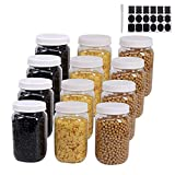 12 Pack 16 Oz Clear Plastic Mason Jars With Seal Lids, Extra Labels, 1 Pen, PET Plastic Jars with lids for Kitchen, Home, Craft by ZMYBCPACK