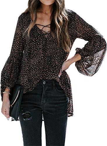 Lovezesent Women's Plus Size Black Leopard Boho Shirts Sexy V Neck Long Lantern Sleeve Chiffon Blouses High Low Flowy Tunic Tops XL