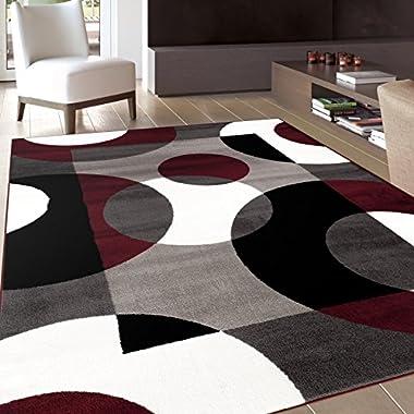 Rugshop Modern Circles Area Rug, 5' 3  x 7' 3 , Burgundy