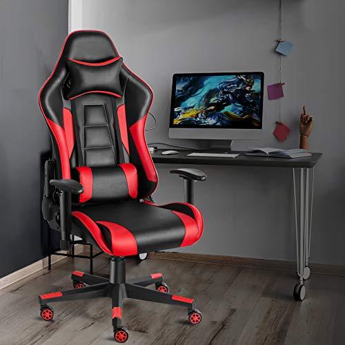 Twomaples Gaming Stuhl, Ergonomische Bürostuhl, Home Games Racing Computer Schreibtischstühle für Erwachsene & Jugendliche, Verstellbare Armlehne, Höhe, Winkel, 360° Drehbar (Schwarz/Rot)