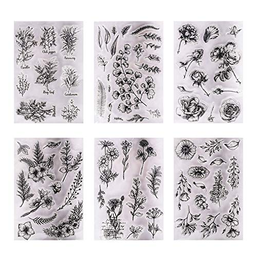 6 Sheets Silicone Clear Different Stamps for Cards Making DIY Scrapbooking Photo Card,Christmas Theme