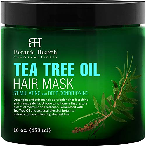 Botanic Hearth Tea Tree Hair Mask & Deep Conditioner, Moisturizes & Protects Hair & Scalp - with Soy Protein, Vitamin E, Collagen, Keratin & Coconut Oil to Help Restore Dry, Damaged Hair, 16 oz