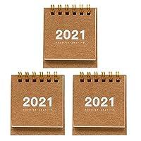 VALICLUD 3Pcs2021ミニ卓上カレンダー紙コイルワイヤーフリッピングオフィスカレンダー手帳スケジュールカレンダー勉強中作業計画メモ帳カレンダー7x6。 3X6。 3Cm(ランダムスタイル)