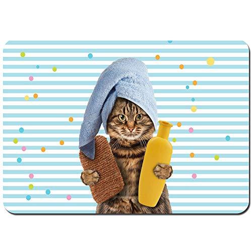 Alfombras Absorbente Antideslizante Telón de Fondo de Rayas de Gato con Lindo Gatito con champú y Toalla de baño Envuelta en la Cabeza Accesorios de Ultra Suave Alfombrilla De Baño Corredor-80x60cm
