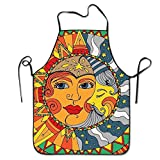Yuanmeiju Vintage Sun and Moon for Bacon Polyester Delantal for Baking Crafting Gardening Cooking Durable Easy Cleaning Creative Bib for Man and Woman Standar Size