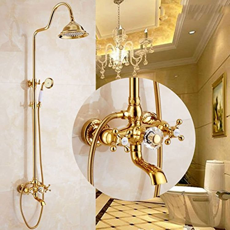 Gyps Faucet Basin Mixer Tap Waterfall Faucet Antique Bathroom Mixer Bar Mixer Shower Set Tap antique bathroom faucet The copper pink gold shower retro shower Kit gold double shower faucet with lifting