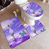 GHWSgGN Galaxy Sandhill Crane Bathroom Rug Mats Set 3 Piece Fashion Anti-Skid Pads Bath Mat + Contour + Toilet Lid Cover