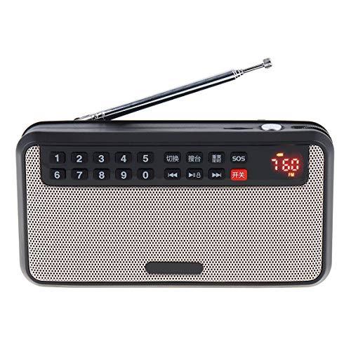 Radio portátil, Reproductor de música Digital de FM con LCD USB Pantalla es Compatible con Linterna Función de grabación, Conveniente for el Funcionamiento de la Radio y reproducción de música