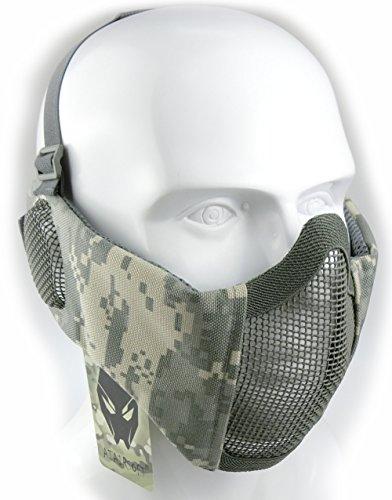 Worldshopping4u Taktische halbe Gesichtsmaske, für Airsoft, Schutz für untere Gesichtshälfte, Geflecht, Nylon, mit Ohrschutz, ACU