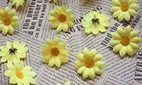 Big Bargain Store 絹の花 DIY 手作りの小さなヒナギク DIYまたは結婚式 人工花 偽造花の頭花 結婚式パーティーの小さな装飾DIYの生産に使用する花100枚 Yellow