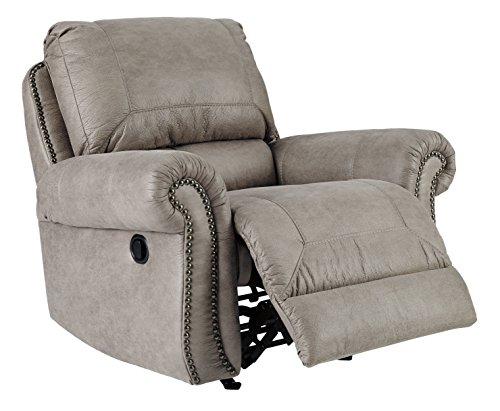 Signature Design by Ashley - Olsberg Traditional Pull Tab Rocker Recliner w Nailhead Trim, Steel Gray