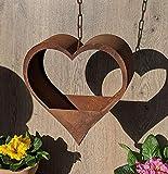 terracotta-toepfe-de Edelrost Herz 25 cm zum Aufhängen mit Kette und Haken, Fensterschmuck, Gartendekoration, Metall Rost, Hochzeit