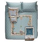 Roberto Cavalli Fading Butterflies - Juego de funda nórdica para cama de matrimonio, 250 x 200 cm, color agua