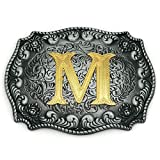 Western Belt Buckle Initial Letters ABCDEFG to Y-Cowboy Rodeo Silver Large Belt Buckle for...