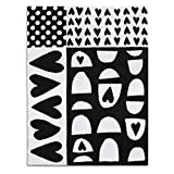 DEMDACO Black and White Hearts and Dots 40 x 30 Children's Polyester Plush Blanket