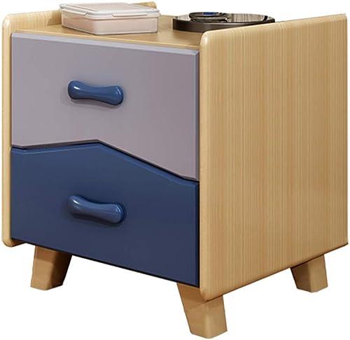 NAN Table de Chevet à 2 tiroirs, Armoire de Chevet avec Meubles de Chambre à Coucher en Bois Massif Blanc Brillant - 18 15.7  18.8 Pouces