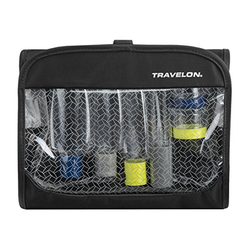Travelon Women's Trifold Wet/Dry Quart Bag with Bottles, Black, One Size