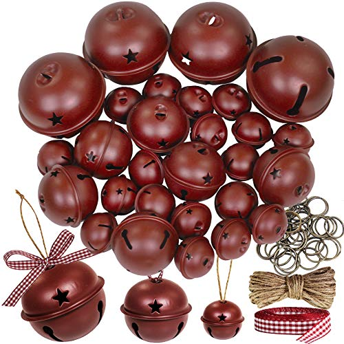 30 Pcs Christmas Metal Sleigh Bells Rustic Burgundy Jingle Bells with Star Cutouts Rustic Craft Bells 1.6' 2.4' 3.5' for Christmas Tree Wreath Garland Ornaments Holiday DIY Decorations