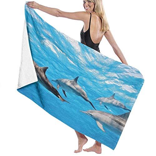 Toalla Shower Towels Beach Towels Imagen de vida animal del océano nadando felizmente delfines Toalla De Baño 80X130CM