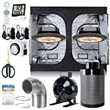 BloomGrow 2PCS 900W UFO LED Grow Light Fixture + 120''x60''x80'' Grow Tent + 8'' Inline Fan Filter Duct Combo + Hydro Accessories Indoor Grow Tent Complete Kit