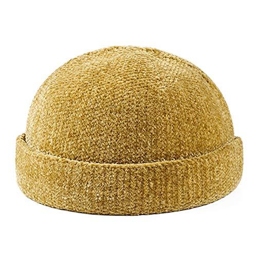 DABENXIONG Retro Domo Melón Sombrero Invierno Cálido Kint Sombrero Casual Espantado Goreie Sombrero Unisex Color Sólido Tapa De Cráneo (Color : Yellow)