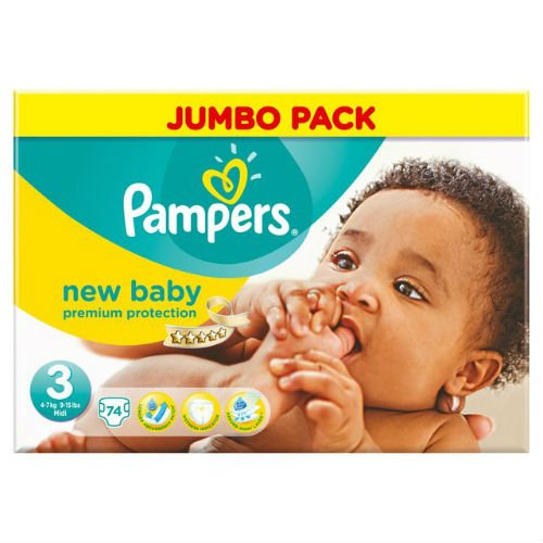 Pampers New Baby Nappies Size 3 74 Jumbo Pack by Pampers