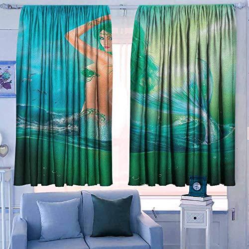Print patroon Gordijnen voor kamer donkere panelen voor woonkamer slaapkamer onderwater kinderen cartoon ontwerp grappige zee dieren vissen gezonken schip koraalrif en bubbels Multi kleuren