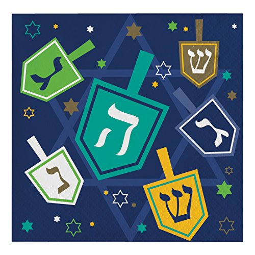 Creative Converting 16 Count Paper Beverage Napkins, Hanukkah Icons