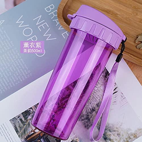 Botella de Agua Deportiva,Prueba de Fugas, Botella Agua Reutilizable para Excursionismo, Ciclismo, Running, Acampada, Gimnasio y Viajes -Tea Rhyme 500ml - Lavanda Purple