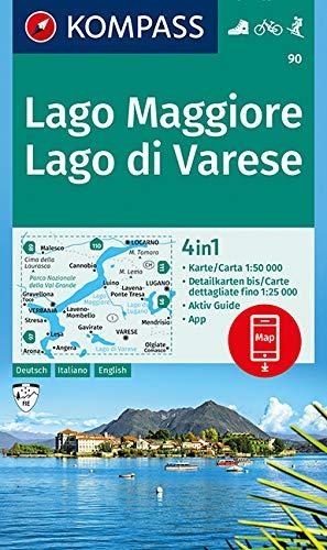 KOMPASS Wanderkarte Lago Maggiore, Lago di Varese: 4in1 Wanderkarte...