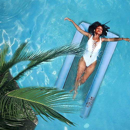 Wasserhängematte,Wasser AufblasbareI Luftmatratze,Wasserliege Liegefläche mit Mesh, Transport-Tasche Pool Lounge,Transportabler Air Lounger für Wasserspaß Blau