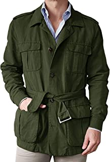 Gafeng Mens Casual Safari Jacket Hunting Long Sleeve Lightweight Windproof Military Travel Jacket with Belt