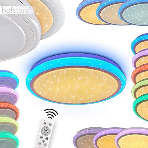 LED Deckenleuchte Bermeo, dimmbare Deckenlampe aus Metall in Weiß, mit Nachtlichtfunktion u. leuchtender Umrandung, 32 Watt, 3000-6400 Kelvin, RGB Farbwechsler u. Fernbedienung, Sternenhimmel-Effekt