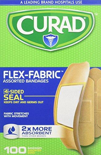 Curad Flex-Fabric Assorted Bandages 2X More Absorbent, 100 ea