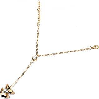 0fefdbf0754ad Bracelet Chaîne avec Bague Parure de Main Cadeau de Bijoux Couleur d'Or