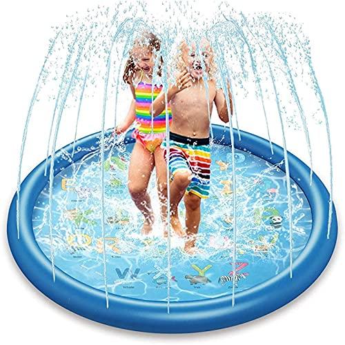 MWXFYWW Almohadilla Inflable para Salpicaduras, Piscina para niños de Verano al Aire Libre, Alfombra para Juegos de Agua en el Patio Trasero,Juguetes acuáticos para Verano jardín al Aire Libre
