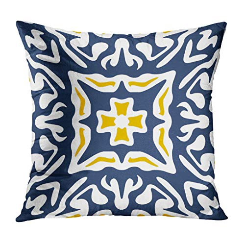 Emvency Throw Pillow Cover Blue Chic Navy and Yellow Mediterranean White Spanish Decorative Pillow Case Home Decor Square 18 x 18 Inch Pillowcase