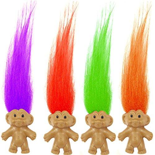 German Trendseller® - 6 x Trolle mit bunten Haaren ┃ Troll Mix für Kinder ┃ Mitgebsel ┃ Kindergeburtstag ┃ 6 Stück