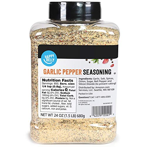 in budget affordable Amazon Brand – Happy Belly Garlic Pepper, 24 oz.