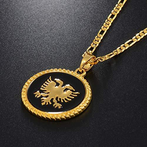 LLXXYY Map Necklace for Women,Albanien Adler Anhänger Halsketten Für Männer Frauen Gold Farbe Charme Karten Patriotischer Schmuck Ethnische Zubehör Weihnachten Geschenke - 60 cm (24 Zoll)-Thin_Kette
