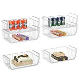 Under Shelf Basket, Stackable Wire Storage Basket for Pantry Organization and Storage Anti Rust White Wire Baskets for Cabinet Closet Desk Bookshelf Cupboard, 6 Pack