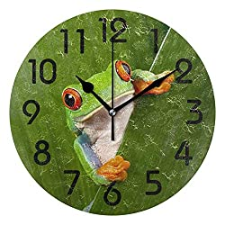 Dozili 3D Cute Curious Red Eyed Tree Frog Peeping from Green Leaf Print Round Pattern Round Wall Clock Arabic Numerals Design Non Ticking Wall Clock Large for Bedrooms,Living Room,Bathroom