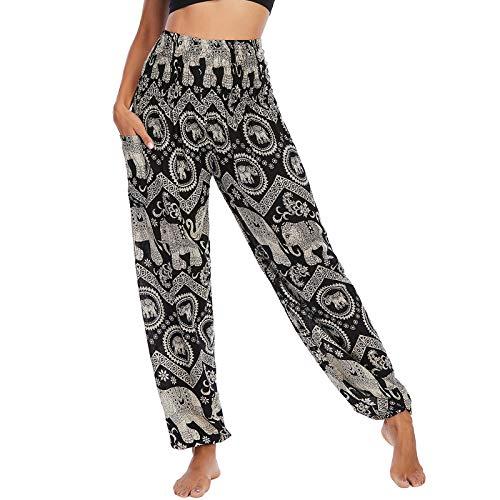 Nuofengkudu Mujer Thai Pantalones Hippies Cintura Alta con Bolsillo Boho Estampados Baggy Comodo Harem Pantalón Indios Yoga Pants Verano Playa(X-Elefante Negro B)