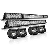 LED Light Bar Kit, Autofeel 6000K 52 Inch + 32 Inch 35000LM Flood Spot Beam Combo White LED Light Bars + 4PCS 4' LED Light Pods Combo Fit for Truck UTV Boat