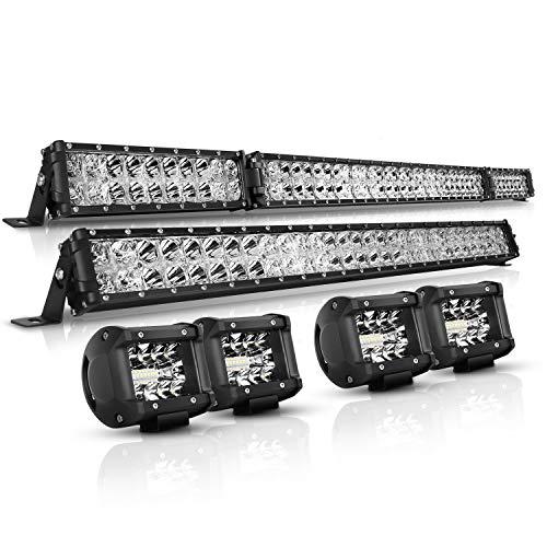 LED Light Bar Kit, Autofeel 6000K OSRAM Chips 52 Inch + 32 Inch 35000LM Flood Spot Beam Combo White LED Light Bars + 4PCS 4' LED Light...
