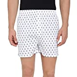 The Cotton Company Printed Boxer Shorts for Men (Pack of 1) - Boxers015_Anchor_Single_White_L