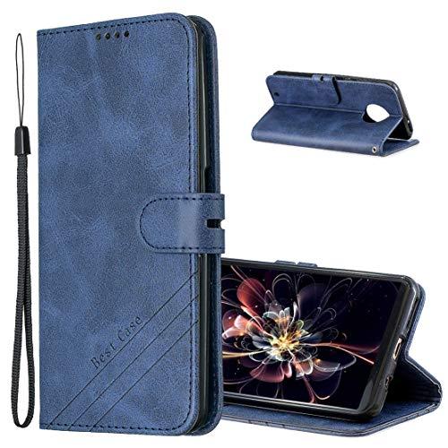 Hülle für Moto G6 Plus, Vintage Dünne Handyhülle mit Standfunktion Kartenfächern Premium PU-Leder Tasche Flip Schutzhülle Kompatibel mit Motorola Moto G6 Plus. HX Retro Blue