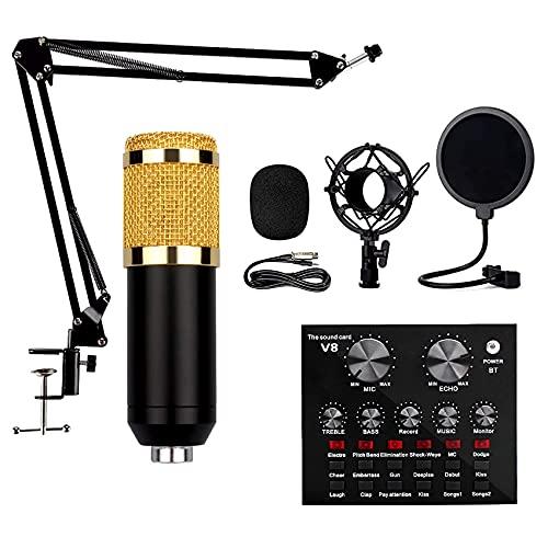 Kit de micrófono BM-800, Juego de Tarjetas de Sonido, Incluye Amortiguador, Filtro emergente, Soporte Plegable, Adaptador USB, bajo Nivel de Ruido, Apto para transmisión en Vivo, micrófonos vocales