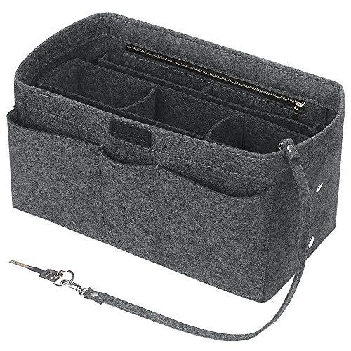 Betoores Handtaschen Organizer Taschenorganizer mit Fächer Geldbeutel-Einsatz Bag in Bag Handtaschenordner,Mittelgrau - XL